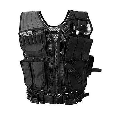 Sushiyi Adjustable Airsoft Tactical Molle Vest Lightweight Multi-Function Assault Vest Black Outdoor Hunting Combat Vest