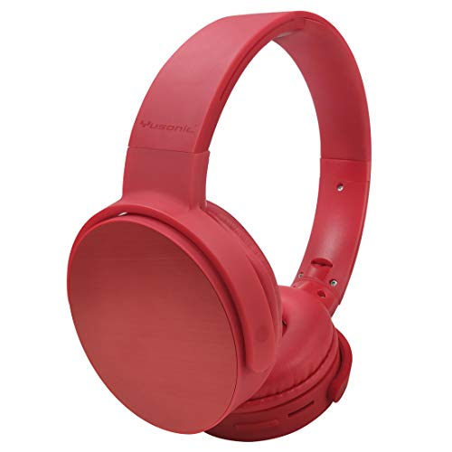 Bluetooth Headphones Wireless,Yusonic Over Ear Headset with Microphone, Foldable &Lightweight, Support Tf Card MP3 Mode and Fm Radio for Cellphones TV, PC. Game(red)