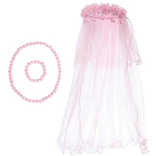 (kilofly Wedding Girls Beaded Floral Hair Wreath Veil + Necklace Bracelet Set)