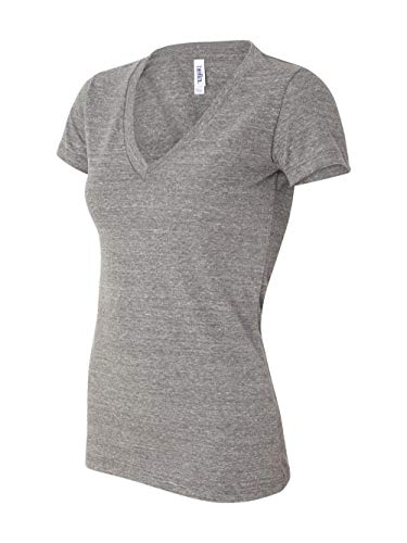 Bella 8435 Womens Triblend Short Sleeve Deep V-Neck Tee - Grey Triblend, Medium