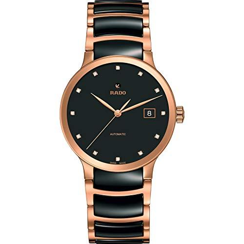 Rado Unisex Diamond 38mm Rose Gold-Tone Steel Bracelet & Case Automatic Black Dial Analog Watch R30036732 (Dial Diamond Eco Friendly)