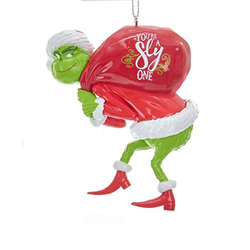 Johnson Smith Co. - KURT S ADLER INC Grinch with Red Sack Christmas Tree Ornament - Dr Suess Holiday Decoration (Decorations Grinch Tree Christmas)