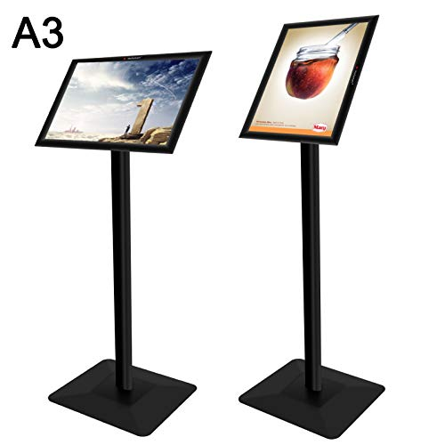 Voilamart A3 Poster Stand Pedestal Sign Holder Adjustable Aluminum Rotatable Display Floor Stand Snap Frame Poster Board Replaceable Advertisement Rack Menu Holder Snap Frame with Heavy Duty Metal Bas