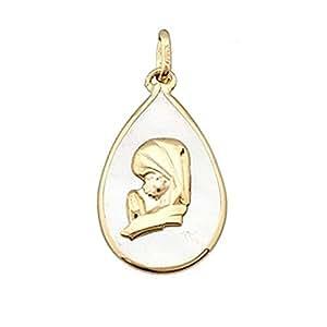 Colgante oro 18k Virgen Nina sobre nácar forma lágrima