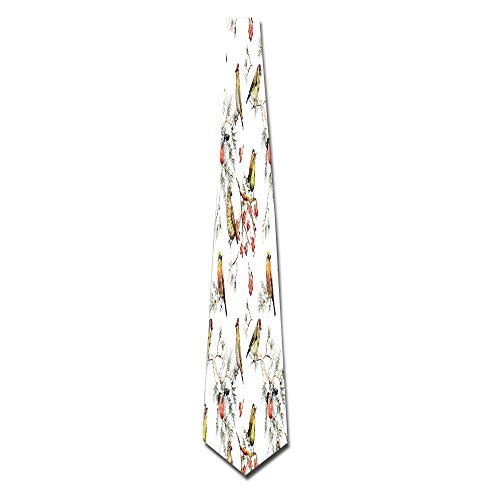 WuLion Sparrows Chubby Birds Indian Leaves Branches Pine Trees Watercolor Men's Classic Silk Wide Tie Necktie (8 CM)