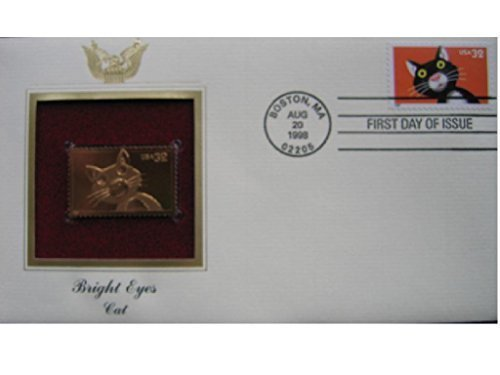 1998 Bright Eyes Cat 22kt Gold Golden Cover First Day Issue FDC FDI Stamp ()