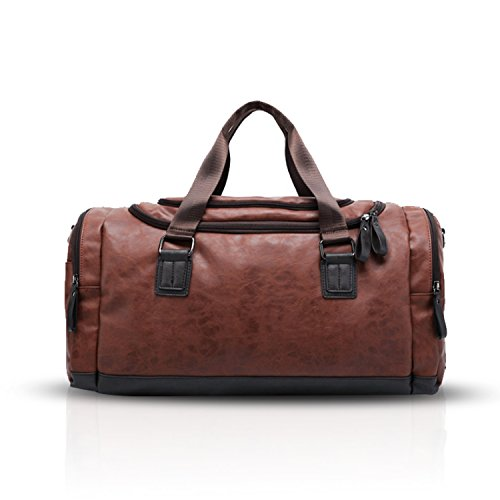 Bag Weekend Gym Bags Fashion Waterproof Outdoor Travel Unisex Handbag Brown Fandare Crossbody Tote Pu Hiking IpxTw8qxX