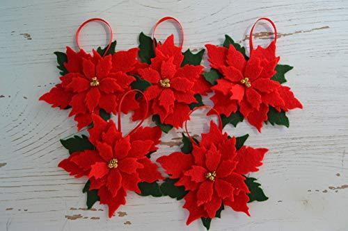 (Christmas Poinsettia Felt Decoration, Set of 5)