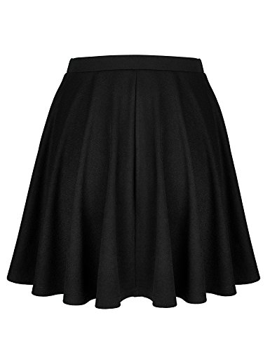 Lock and Love WB1580 Womens Verstaile Stretchy Flared Casual Skater Skirt - Made in USA L Black by Lock and Love (Image #2)