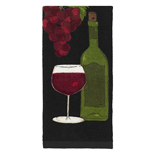 All-Clad Textiles 100-percent Cotton Fiber Reactive Wine Print Kitchen Towel, 17-inch x 30-inch, Black