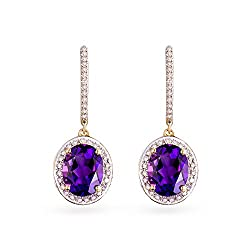 White Gold Diamond Amethyst Earrings