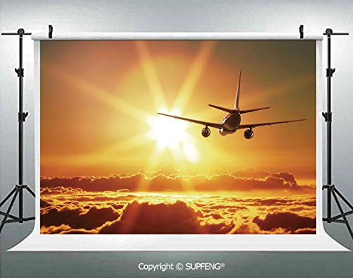 - Photography Background Aeroplane Aircraft Widebody Jet Flying on Air Rising Sun with Fluffy Clouds Art 3D Backdrops for Photography Backdrop Photo Background Studio Prop