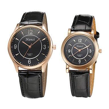 2015 marca gran reloj de pulsera de marcación para hombres amante mujeres relojes moda casual vestido de par reloj de piel sintética, black-for men: ...
