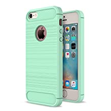 MOONCASE iPhone SE Case, Carbon Fiber Resilient [Drop Protection] [Anti-Scratch] Rugged Armor Case Cover for iPhone 5 / 5S / iPhone SE Mint Green
