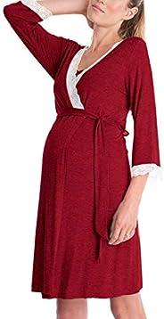 Jumojufol Womens Maternity Nightgowns 3/4 Sleeve Lace Nursing Sleepwear Robe