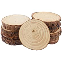 12pcs 3.5-4 inch Unfinished Natural Wood Slices with Bark for Crafts by Binsn