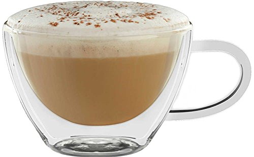 Circleware Thermax Double Wall Insulated Heat Resistant Glass Coffee Mugs with Handle, 2-Piece Set, Home and Kitchen Entertaining Drinking Beverage Tea, Cappuccino Espresso Shots Cups, 8 oz 2-pc