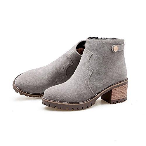 BalaMasa Womens Retro Slip-Resistant Comfort Urethane Boots ABL10233 Gray 7C9pfJ