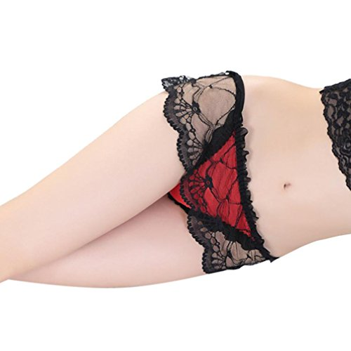 Partner Brief Bag (G-stringthong Sexy For Women, Balakie Lace Briefs Lingerie Net Yarn Skirt Hollow Lace Underwear Thongs G-string (One Size, Red))