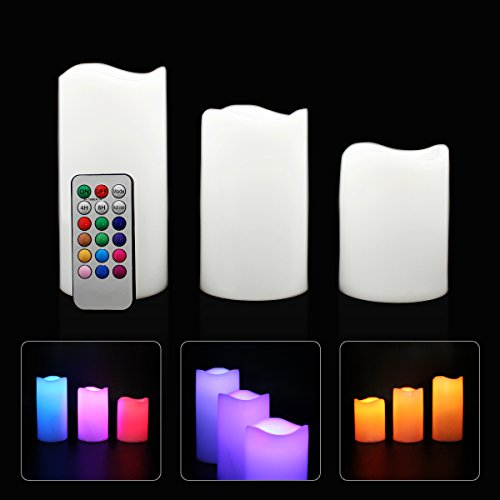 Hippih LED Remote Controlled Flameless Color Changing Candles with Timer, Set of 3
