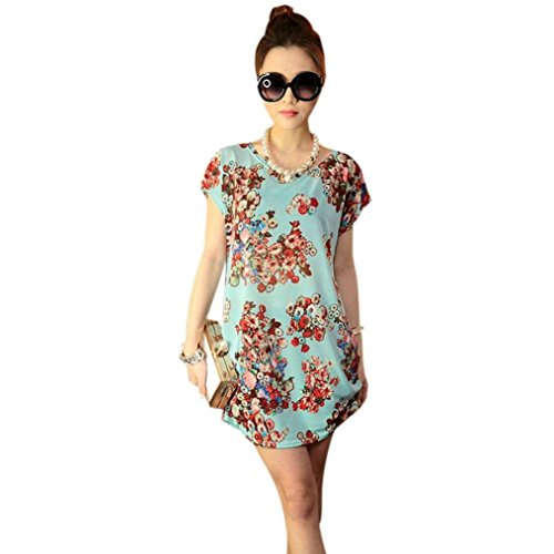 Franterd Women Skirts Print Short Sleeves T Shirt Blouse Loose Mini Dress (Green)