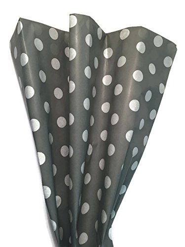 Designer Tissue - Polka Dot Tissue Paper (White Dots on Grey)- Printed Tissue Paper for Gift Wrapping - Decorative Gift Tissue Paper, 24 Large Sheets (20x30)