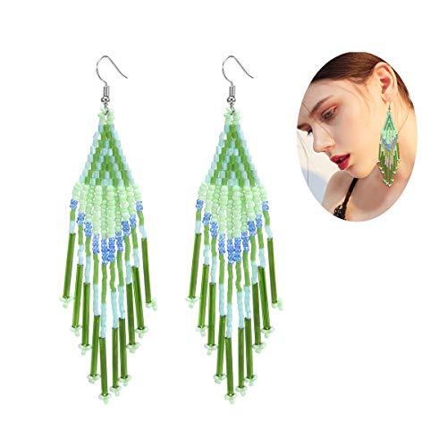 Royalbeier Beaded Earrings Oversized Handmade Seed Beaded Drop Earrings Long Beaded Navajo Indian Dangle Earrings for Women ()