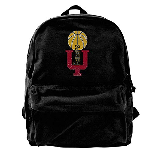 Classic Canvas Backpack Indiana Letter Logo Unique Print Style,Fits 14 Inch Laptop,Durable,Black - Indiana Classic Pique