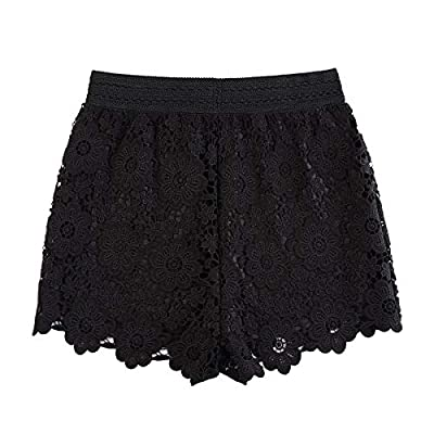 KGYA Women's Elastic High Waisted Summer Crochet Lace Shorts: Clothing