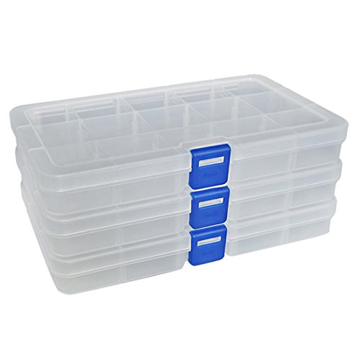 DuoFire Plastic Organizer Container Storage Box Adjustable Divider Removable Grid Compartment for Jewelry Beads Earring Container Tool Fishing Hook Small Accessories (15 grids, White X 3)