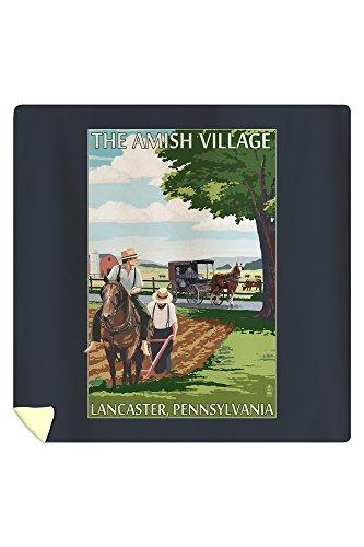 Lancaster County, Pennsylvania - Farm Scene - Barn Raising Scene (88x88 Queen Microfiber Duvet Cover) (Raising Quilt Barn)