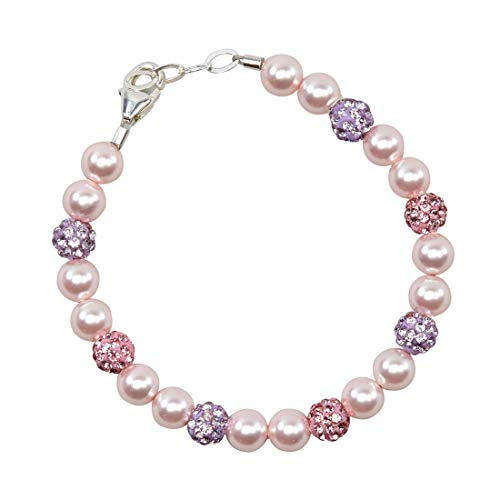 Pink Pearl Bracelet Baby - Crystal Dream Stylish Purple and Rose Pave Beads with Pink Swarovski Simulated Pearls Sparkly Baby Girl Keepsake Bracelet (BSHM_M)