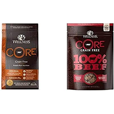 Wellness Core Natural Grain Free Dry Dog Food, Original Turkey & Chicken (4-Pound Bag) With Wellness Core 100-Percent Freeze Dried Dog Treats, Beef (2-Ounce Bag), Variety Bundle