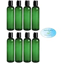 4 Ounce Green PET BPA-Free Plastic Empty Refillable Cosmo Round Bottles With Disc Caps (Pack of 8)