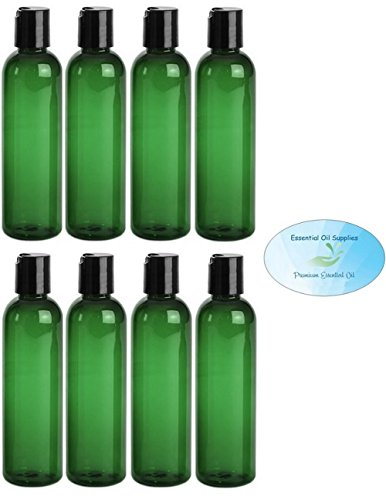 (4 Ounce Green PET BPA-Free Plastic Empty Refillable Cosmo Round Bottles With Disc Caps (Pack of 8))