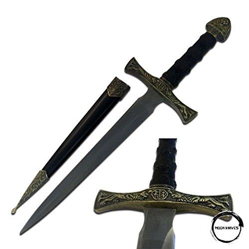 MOON KNIVES KING ARTHUR MEDIEVAL Lion Crest SHORT SWORD DAGGER Scabbard w/ -