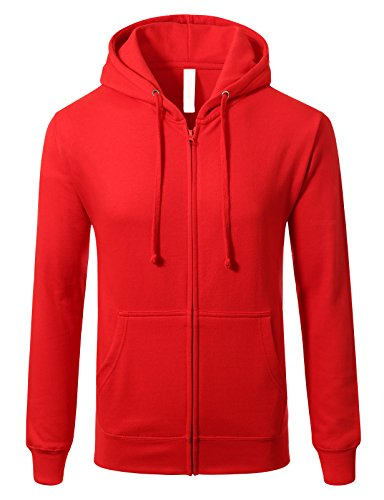 Mens Slim Fit Long Sleeve Lightweight Zip-up Hoodie With Kanga Pocket 3XL Red (Sweatshirt Zipper Red)