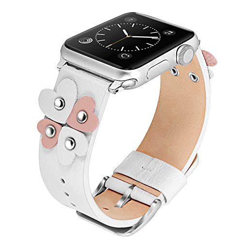 Leather Band Watch Strap Heart (TRUMiRR Bands Compatible Apple Watch Band 38mm 40mm Women Girls, Soft Genuine Leather Watchband Unique Heart Design Strap Female Cuff Bracelet for iWatch Watch Series 4 3 2 1 All Models, White)