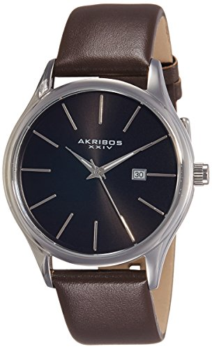 Akribos XXIV Men's AK618BR Quartz Movement Watch with Black Dial and Brown Genuine Leather Strap