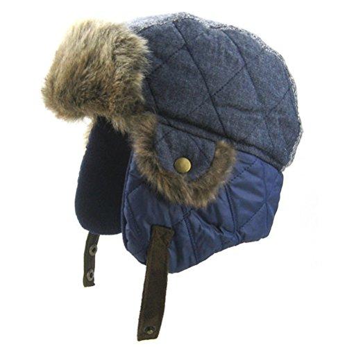 Boys Winter Hats Big Kids Cowboy Cloth/Aviator Winter Earflap Cap Blue (Fleece Waterproof Hat)