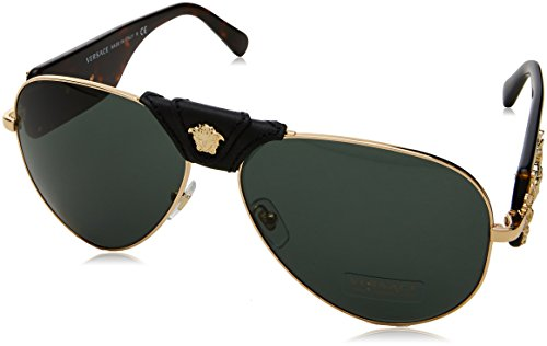 Versace VE2150Q 100271 Gold VE2150Q Pilot Sunglasses Lens Category 3 Size 62mm - Gucci Women Watches