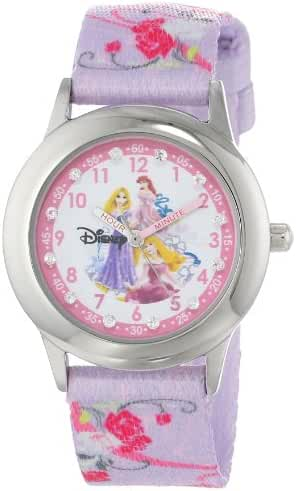 Disney Kids' W000387 Glitz Princess Stainless Steel Time Teacher Printed Strap Watch