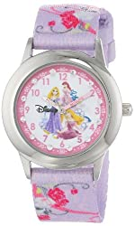 Disney Kids' W000387 Glitz Princess Stainless Steel Time Teacher Printed Strap Watch