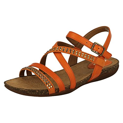 CLARKS Clarks Womens Sandal Autumn Peace Orange Leather 4.5