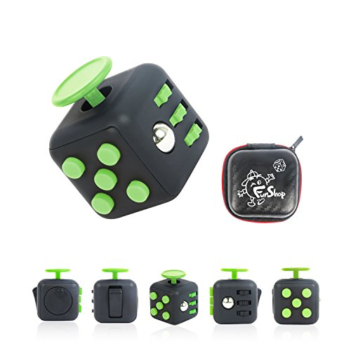 Fun Cube Relieves Stress And Anxiety Fidget Toy for Children and Adults (Black/Green)
