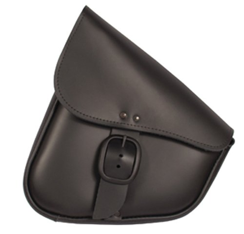 Dowco Willie & Max 59893-00 Triangulated Leather Motorcycle Swingarm Bag: Matte Black Buckle, Black, 9 Liter Capacity