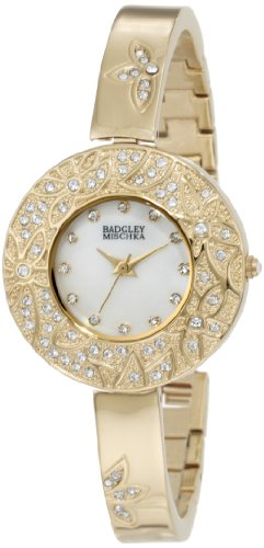 badgley-mischka-womens-ba1094mpgb-swarovski-crystal-accented-gold-tone-flower-theme-bangle-watch