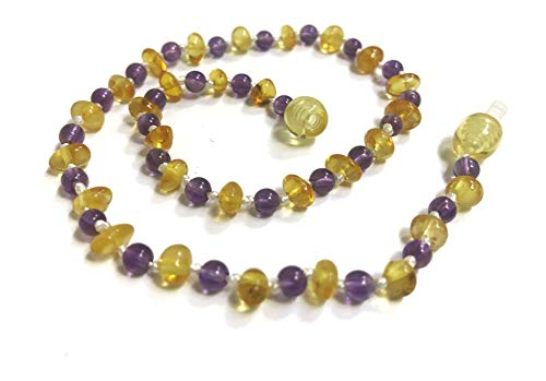 Baby Teething Necklace Genuine Baltic Sea Amber and Natural Amethyst and Rose - Quartz Necklace Genuine Rose