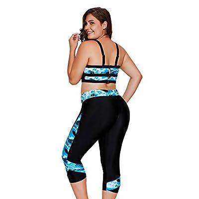 AGOWOO Women's Blue Sea Print Tankinis Two Pieces Swimwear Set With 3/4 Pants