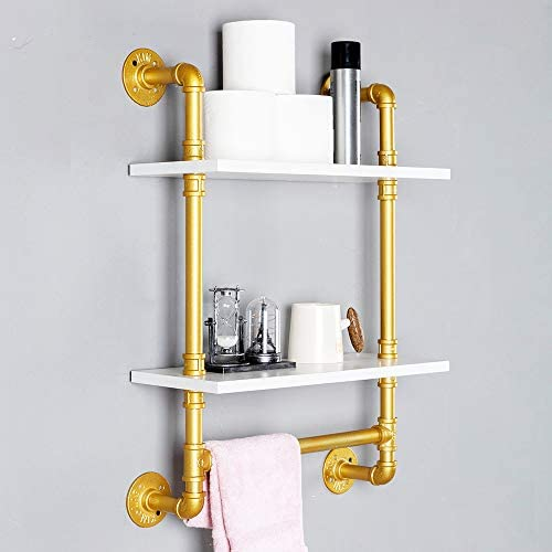 Industrial Pipe Shelf,Rustic Wall Shelf with Towel Bar,20 Towel Racks for Bathroom,2 Tiered Pipe Shelves Wood Shelf Shelving Gold